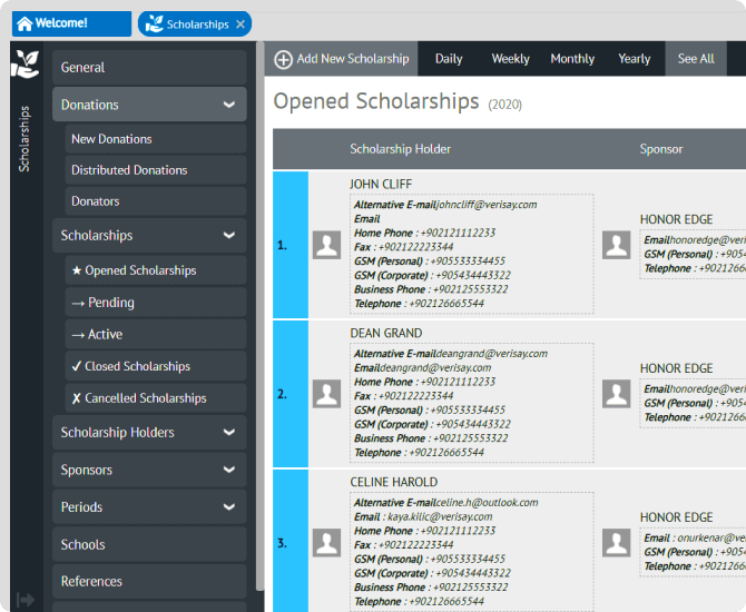 List your scholarships
