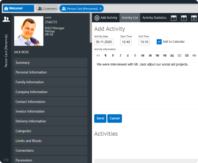 Manage your followers and members with activities